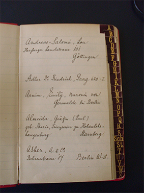 Rilke's address book