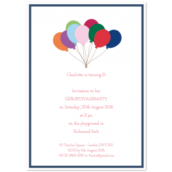 Birthday Invitations For Children Balloons