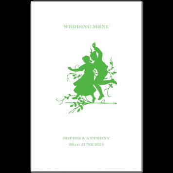 Folding Wedding Menu Cards with Dancers