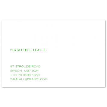 Engraved Visiting Cards (left aligned)