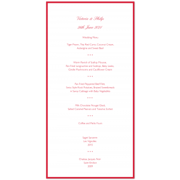Bordered Wedding Menu Cards