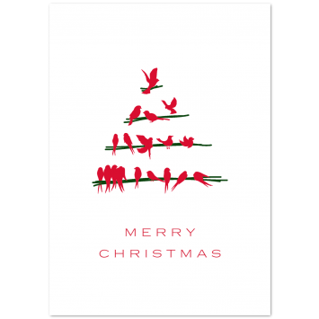 "Illustrated Christmas photo cards ""Bird Tree"""