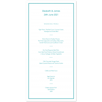 Wedding Menu Cards with Keyline Border