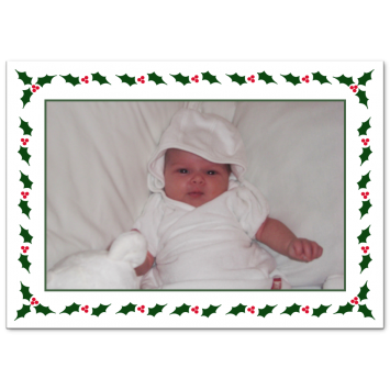 "Christmas photo cards ""Holly Frame"""