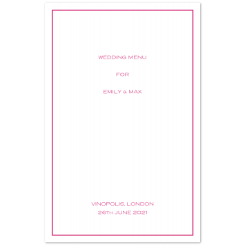 Folding Wedding Menu Cards with Keyline Border