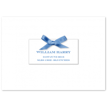 Folded Birth Announcements with Blue Bow