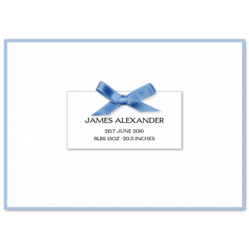 Folded Bordered Birth Announcements with Blue Bow