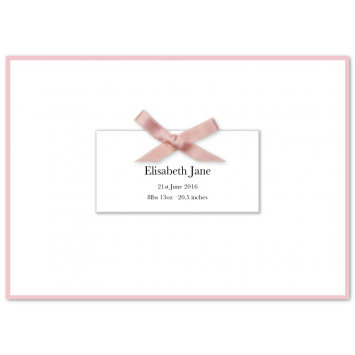 Folded Bordered Birth Announcements with Pink Bow