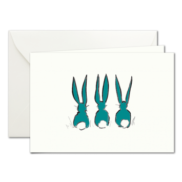 Easter Bunnies in Green, illustrated Easter cards by Kera Till