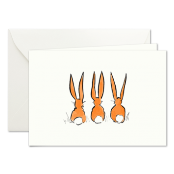 Easter Bunnies in Orange, illustrated Easter cards by Kera Till
