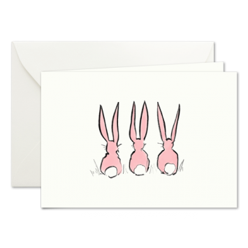 Easter Bunnies in Pink, illustrated Easter cards by Kera Till