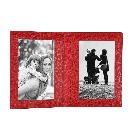 Red Leather Folded Photo Frame